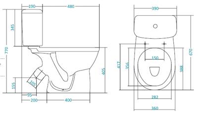 """Унитаз компакт САНТЕК Бореаль  """"антивсплеск """" (360х670х405) косой выпуск, однорежимный слив,сиденье."""