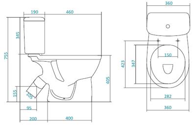 """Унитаз компакт САНТЕК Бореаль  """"тарельчатый """" (360х650х405) косой выпуск, однорежимный слив,сиденье."""