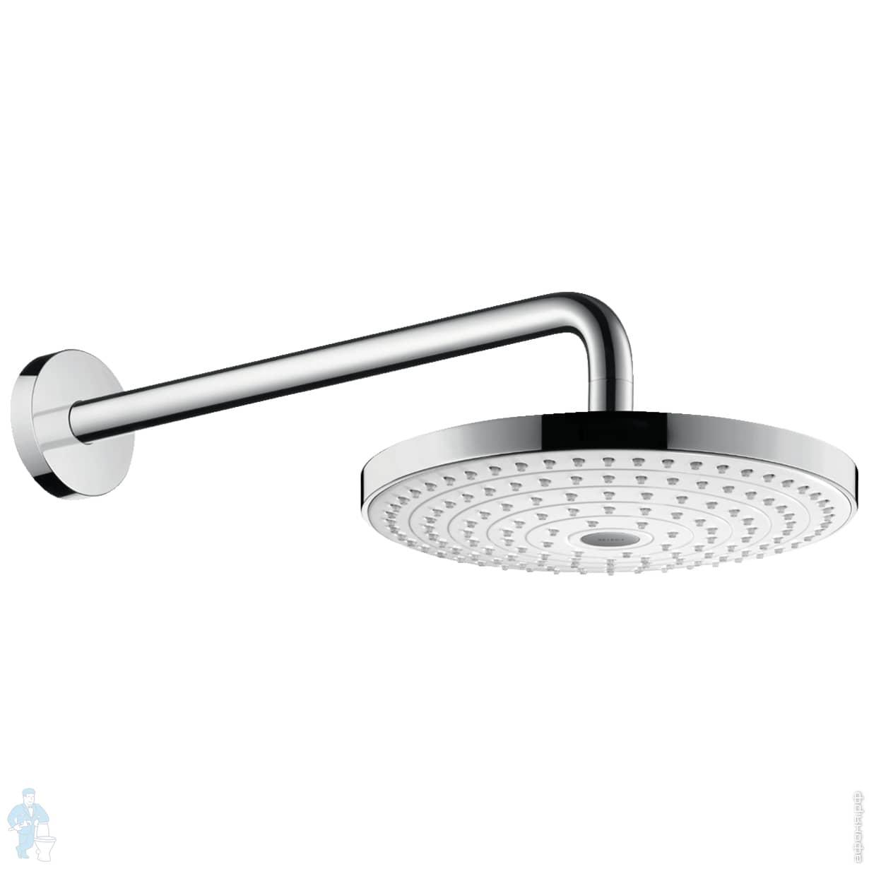 Верхний душ Hansgrohe Raindance Select S 240 2jet с держателем 390 мм, белый/хром 26466400 | Афоня.рф, цена 33 610 руб.