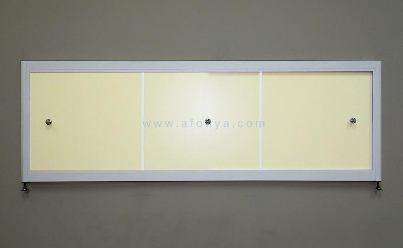 Экран под ванну A-SCREEN слоновая кость 1500х500-650 серый профиль, 3 дверцы