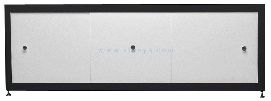 Экран под ванну A-SCREEN белый металлик (композит) 1800х500-650 черный профиль, 3 дверцы