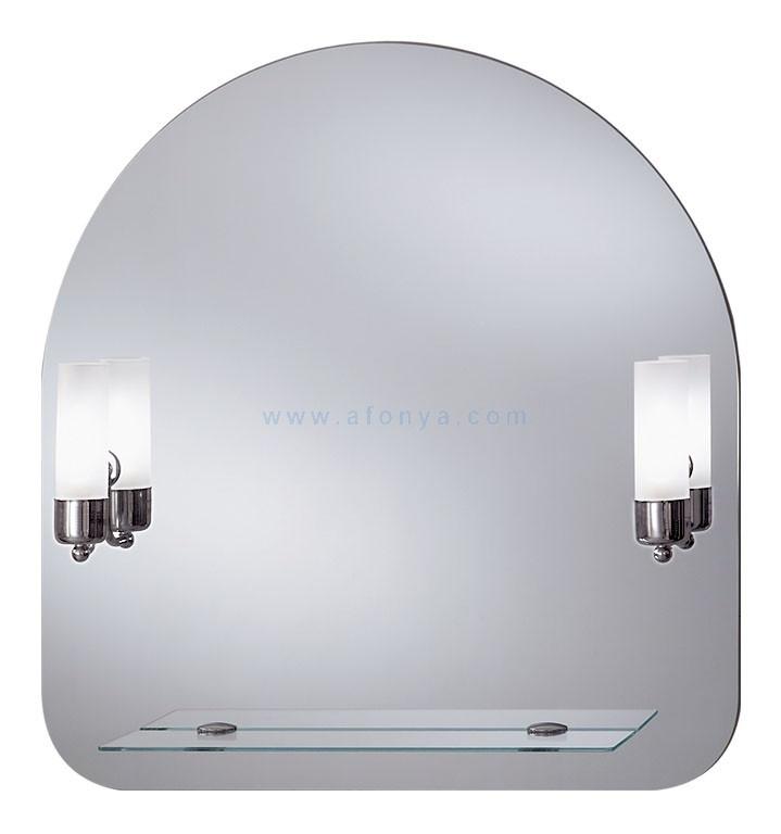 Зеркало для ванной комнаты Dubiel Vitrum Гая (700х730) с 2 лампами бра и полкой