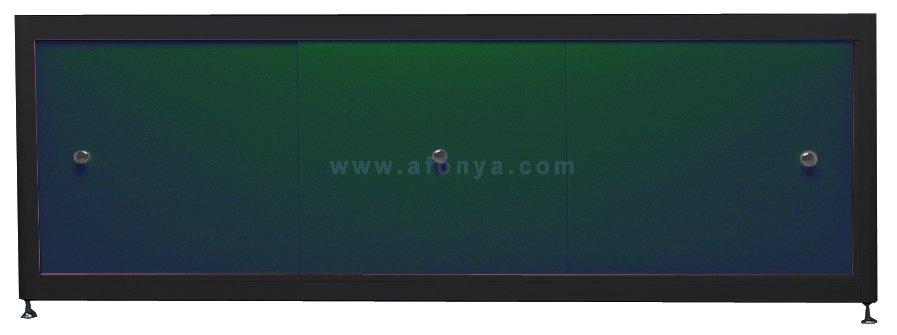 Экран под ванну A-SCREEN зеленый 1500х500-650 черный профиль, 3 дверцы