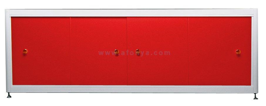 Экран под ванну A-SCREEN красный 1300х500-650 белый профиль, 4 дверцы