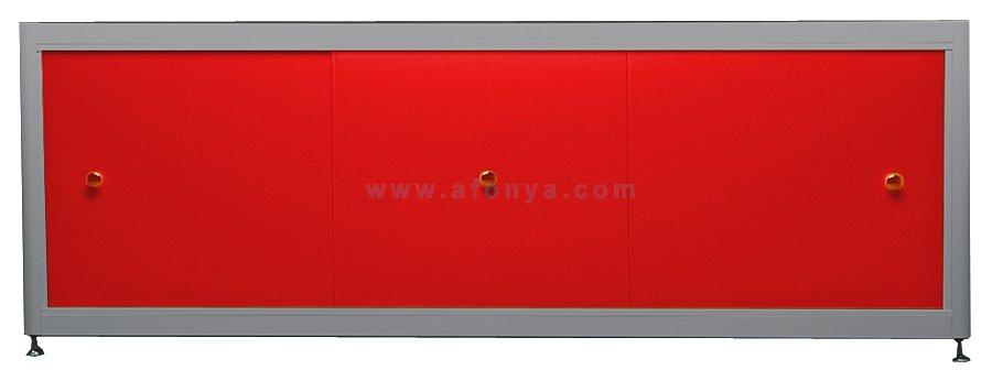 Экран под ванну A-SCREEN красный 1300х500-650 серый профиль, 3 дверцы