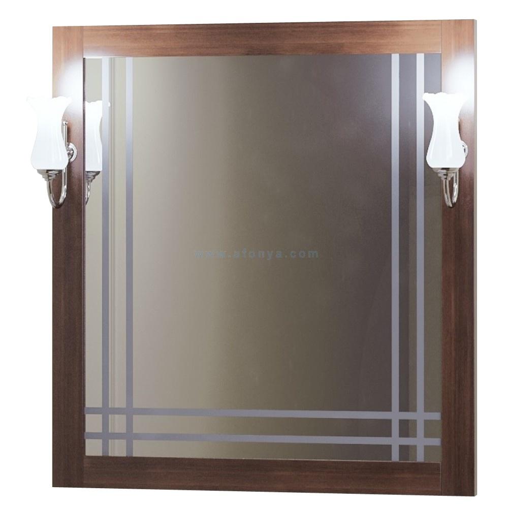 Зеркало Opadiris Сакура 80 (800х850х22) с 2 светильниками Рустика, светлый орех