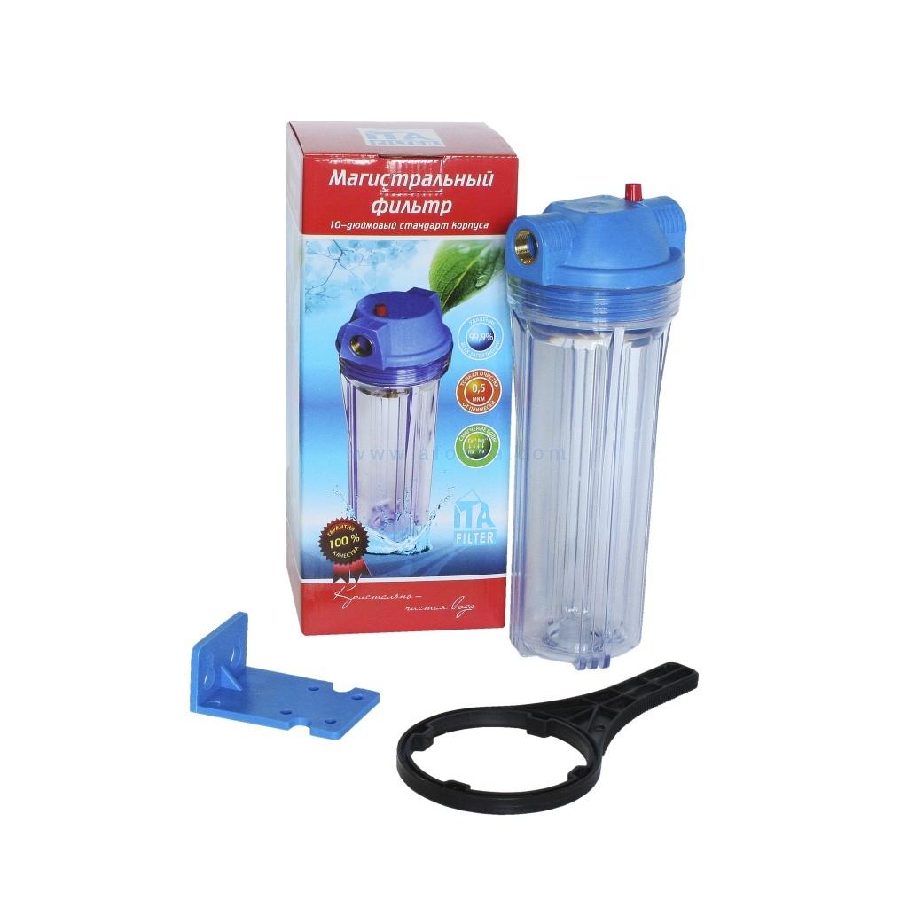 Корпус ITA FILTER для холодной воды ITA-10-1/2 10 дюймов, колба прозрачная, ключ, крепеж F20110-1/2