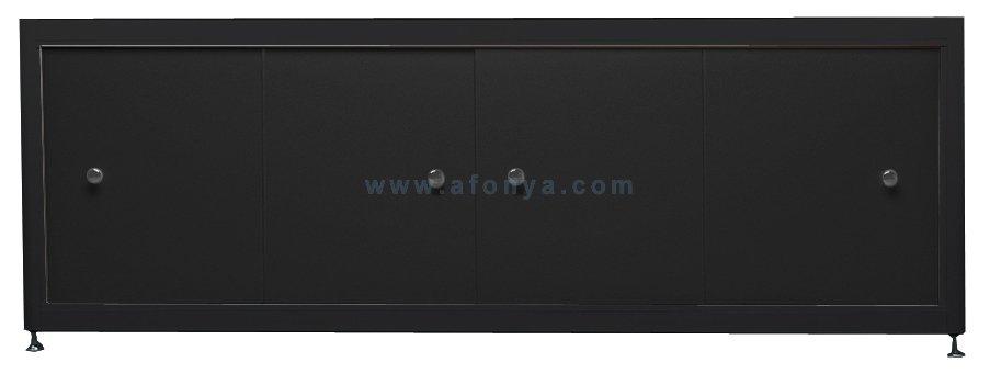 Экран под ванну A-SCREEN черный 1900х500-650 черный профиль, 4 дверцы