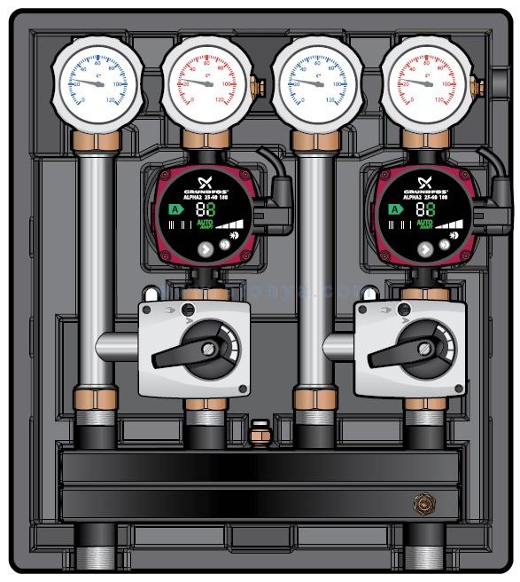 Насосно-смесительный модуль Meibes Kombimix 2MKST_Yonos Para 15/6RKC, арт ME 26101.2