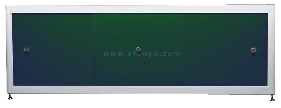 Экран под ванну A-SCREEN зеленый 1300х500-650 белый профиль, 3 дверцы
