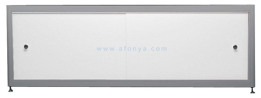 Экран под ванну A-SCREEN белый глянцевый (композит) 1000х500-650 серый профиль, 2 дверцы