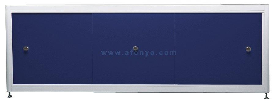 Экран под ванну A-SCREEN синий 1600х500-650 белый профиль, 3 дверцы