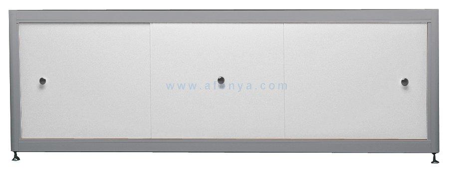 Экран под ванну A-SCREEN белый металлик (композит) 1600х500-650 серый профиль, 3 дверцы